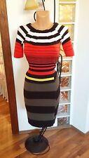 Karen Millen Colour Block Knitted Stretch Dress Size 2 UK 10 12