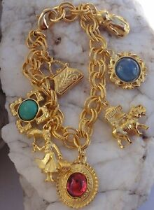 BEN AMUN 24K Gold Plated CHARM Royal Charm Collection Made in USA BRACELET NEW