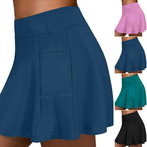 Damen Yoga-Shorts mit Hoher Taille Shorts Golf Tennisrock Skort Sport Culottes.