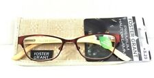 NEW Foster Grant READING GLASSES +3.25 Strength & Case Natural BAMBOO Red Metal