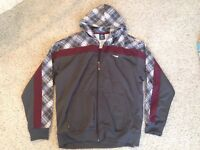 Protege Gray Maroon Flannel Pattern Polyester Men's Hoodie Size XXL