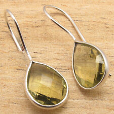 Yellow Facetted Lemon Topaz Traditional Earrings ! 925 Silver Plated Jewelry