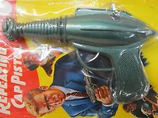 "SPACE RAY GUN Repeating Cap Pistol 8"" long HONG KONG hard plastic MINT on card"