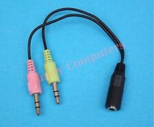 3.5mm Stereo Audio Mic Combine Cable 2x Male to 4-pole Female Adapter For PC AU