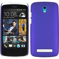 Hardcase HTC Desire 500 rubberized purple Cover + protective foils