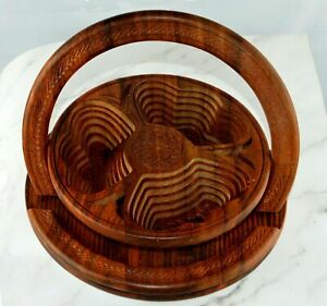 Handmade Wooden Folding Carved Dry Fruits , Candies Nuts platter with Handle New