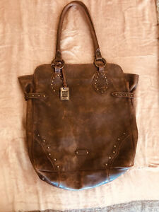 Frye Brown Brass Studded Genuine Leather Tote Bag