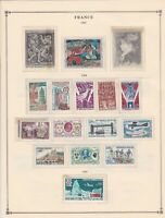 france 1968 stamps page mounted mint & used ref 17488