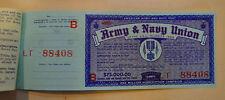 Vtg American Army & Navy Union USA Subscription Lottery Ticket Stub Unused MINT