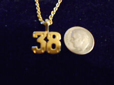 bling gold plated sport didget number 38 pendant charm chain hip hop necklace gp
