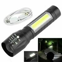 Portable T6 + COB LED Tactical USB Rechargeable Zoomable Flashlight Torch Lamp