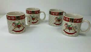 Charlton Hall by Kobe 4 Piece Ceramic Christmas Holiday Coffee Tea Mug Set