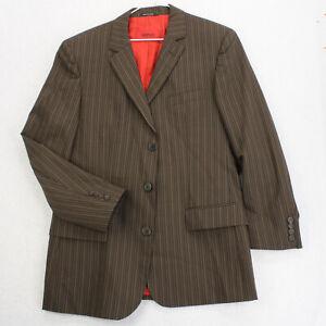 HUGO HUGO BOSS Brown Striped Red Liner Blazer Sport Coat Suit Jacket Men's 38R