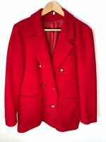 Vintage Jacket Blazer Size 12 Red Cashmere And Wool Blend Gold Nautical Buttons