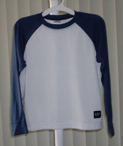 Boys Pajama Top Sleep Top Long Sleeve White and Navy Gap  NWOT Size 10