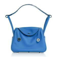 Hermes Lindy 26 Bag Blue Hydra Evercolor Leather New w/ Box