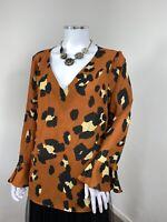 Wallis Top UK 14 Brown Leopard Print Tan Blouse Floaty Frill Sleeve V Neck Smart