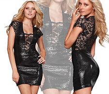 vestito donna mini abito corto cocktail dress pizzo paillettes nero tg u 48f0f512ac3