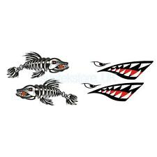 4x Kayak Decal Shark Mouth Skeleton Fish Boat Wall Car Motorcycle Stickers