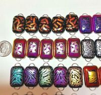 Handmade-50 Dichroic Glass Fused Links! 2 Hoops- 10 Sets of Five- Regular size-C