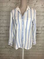 Womens M&S Ivory Blue Stripe Long Sleeve Button Front Shirt Size 16