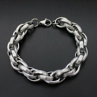 Unisex's Silver Stainless Steel Bangle Punk Chain Cuff Charm Bracelet 18-22cm