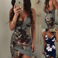 Women Sexy Summer Floral Bodycon Evening Party Cocktail Club Short Mini Dress