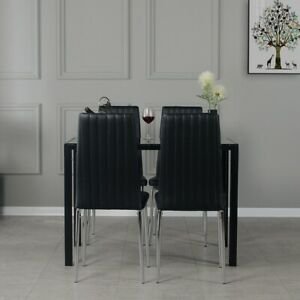 Small Black Dining Table and 4 Chairs Chrome Legs Compact Set Home Furniture