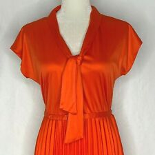 Vintage 70s Accordion Pleated Dress Red Short Sleeves Belted Pussy Bow Midi