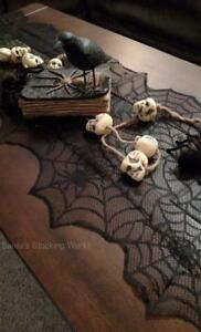 """NWT Authentic DII 72 x 18"""" Black Lace Spiders SPIDER WEB Halloween TABLE RUNNER"""