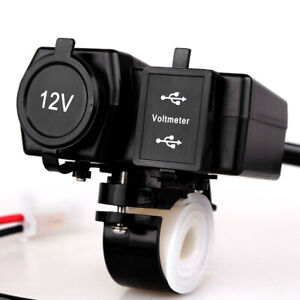 12V-24V Waterproof ATV Motorcycle Dual USB Charger LED Display Voltmeter Boat
