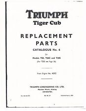 Triumph Parts Manual Book 1959 Tiger Cub T20, T20C & T20S