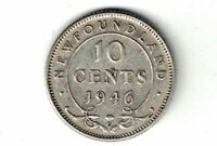 NEWFOUNDLAND 1946 10 CENTS DIME KING GEORGE VI CANADIAN .800 SILVER COIN