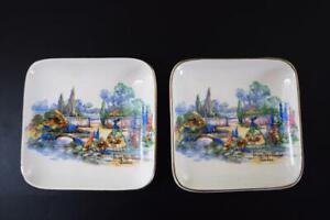 Pair of Lancaster & Sandland Crinoline Lady Pin/Butter Dishes Olde World Garden