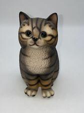 "Brown Tabby Cat Figurine Harvey Knox Kingdom Handpainted Ceramic Japan 5.25"""