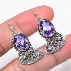 "Alexandrite Quartz & White Topaz Oxidize 925 Silver Jewelry Earring 1.58"" T2951"