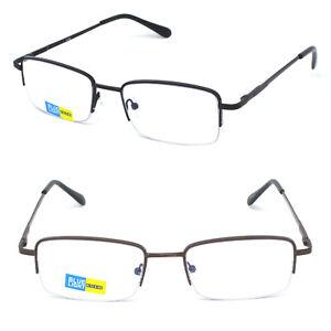 Anti Blue Light Blocking Men Half Rimless Metal Reading Glasses Business Readers