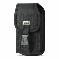 Reiko Vertical Rugged Pouch With Buckle Front Black In Cardboard Packaging