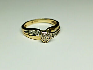 10K Yellow/White Gold Diamond Chip Heart Ring