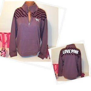 PINK Victorias Secret Half Zip Sweatshirt Logo Size S Color Plum