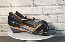 VAN DAL Ladies Wedge T-Bar Leather Sandal Shoes In Blue Size UK 7