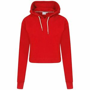New Girls Crop Hoodie Kids Pull Over Plain Casual Short Hooded Sweat Shirt Top