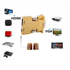 Gold HDMI Female to VGA Male Converter Audio Adapter Support 1080P Signal Output