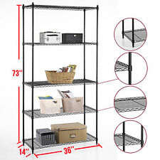 "Heavy Duty 5 Tier Layer Wire Steel Shelving Adjustable 73""x36""x14""  Storage Rack"