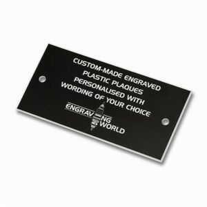 76mm x 26mm Personalised Engraving Engraved Plastic Plaque Sign (Black/White)