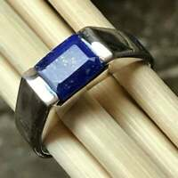 Natural Lapis Lazuli Gemstone with 925 Sterling Silver Signet Ring for Men's