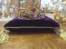 FRANKLIN MINT CINDERELLA 24 k gold plated lead Crystal Crown W/ Pillow