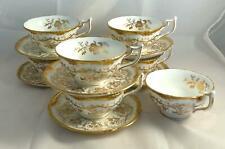 Set of 6 Coalport / Royal Cauldon KING'S PLATE Cups & Saucers white & gold