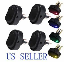 Blue+Green+Yellow+Red LED Light 12V 30A Car Boat Auto Rocker SPST Toggle Switch
