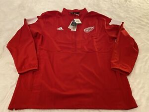 NWT Adidas Detroit Red Wings Game Mode Climalite Mens 1/4 Jacket NHL Red Size XL